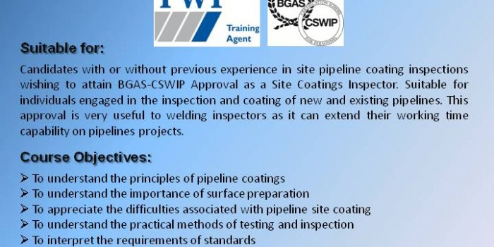 BGAS-CSWIP Site Coatings Pipeline Inspector-Thessaloniki